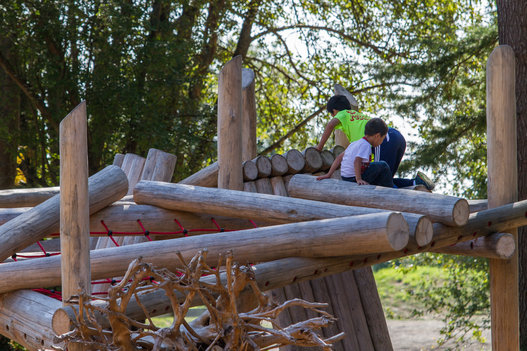 Kids climbing on the log jam structure.