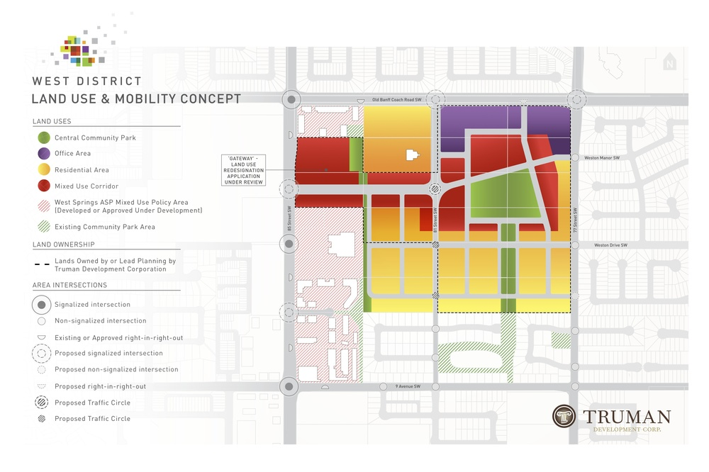 Proposed land use map for West District. Not how streets link with existing community to the east.