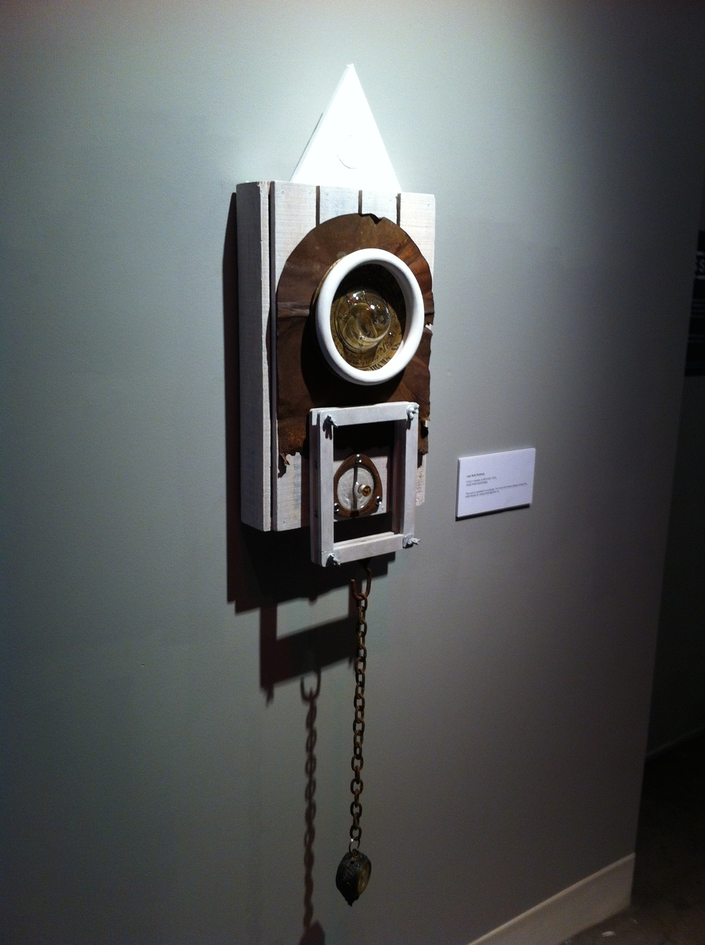 "Jaon Packman, "" ICON II - Daniel's Refuge,"" mixed media assemblage, 55""H x 12.5""W x 6.25""D"