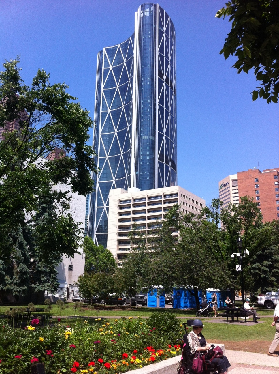 Norman Foster's Bow office tower viewed from Olympic Plaza.