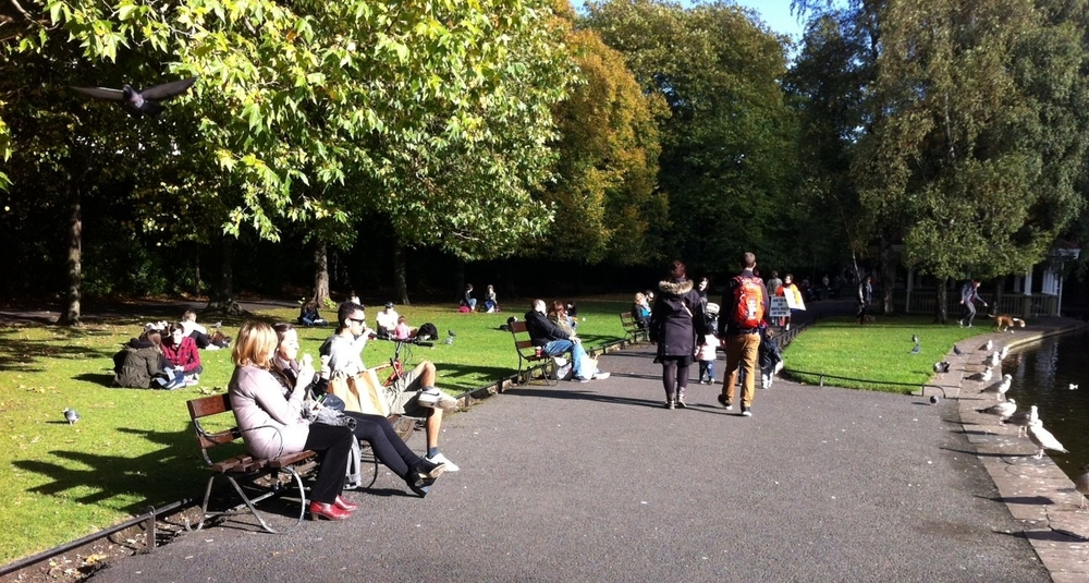 Parks are great places to sit, chat and people watch.
