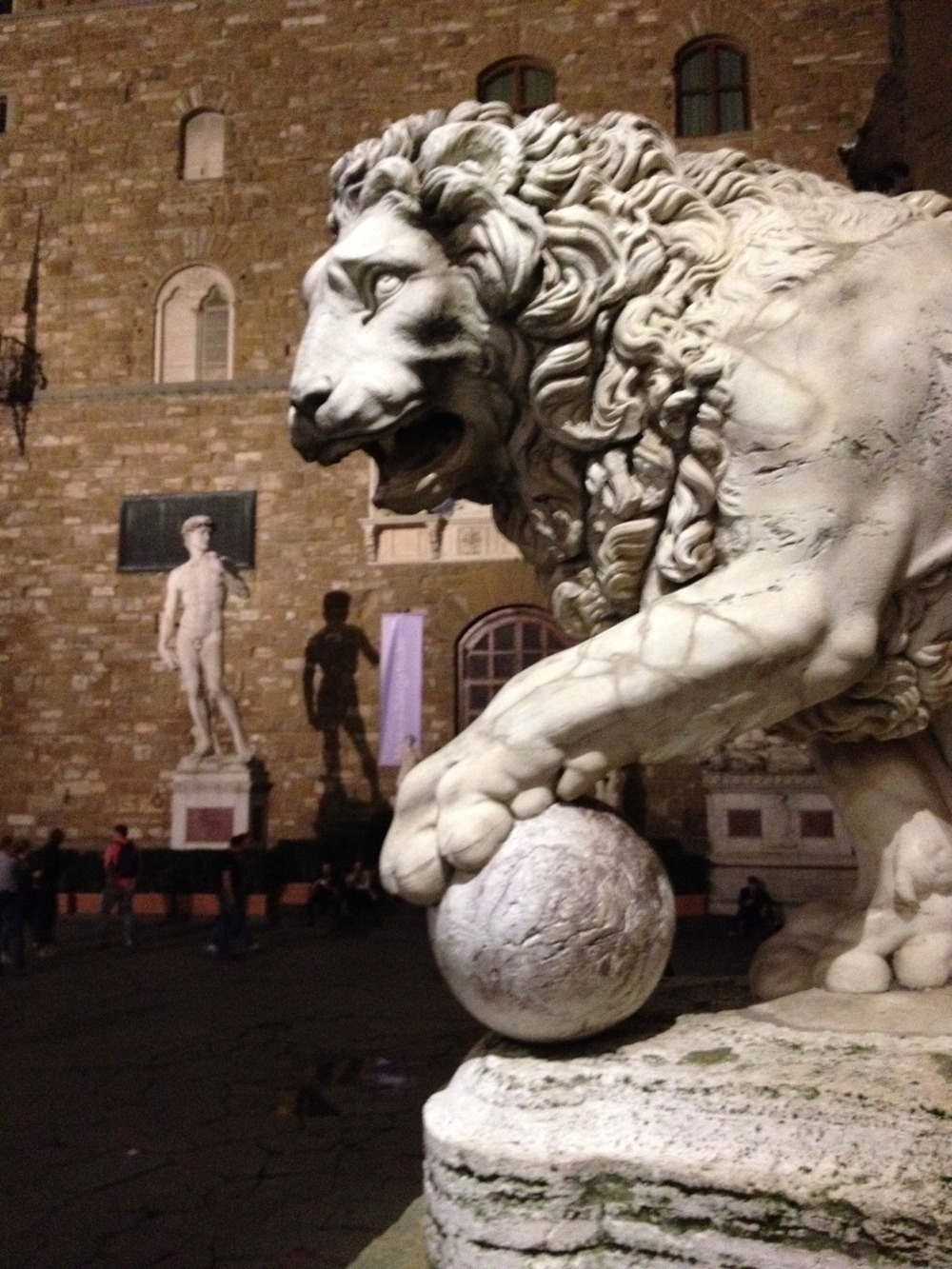 Medici Lion, one of two lions, one of which is an ancient lion from 200 AD that was removed from a relief, reworked and moved to the piazza, the other was commissioned in 1594 by Vacca.