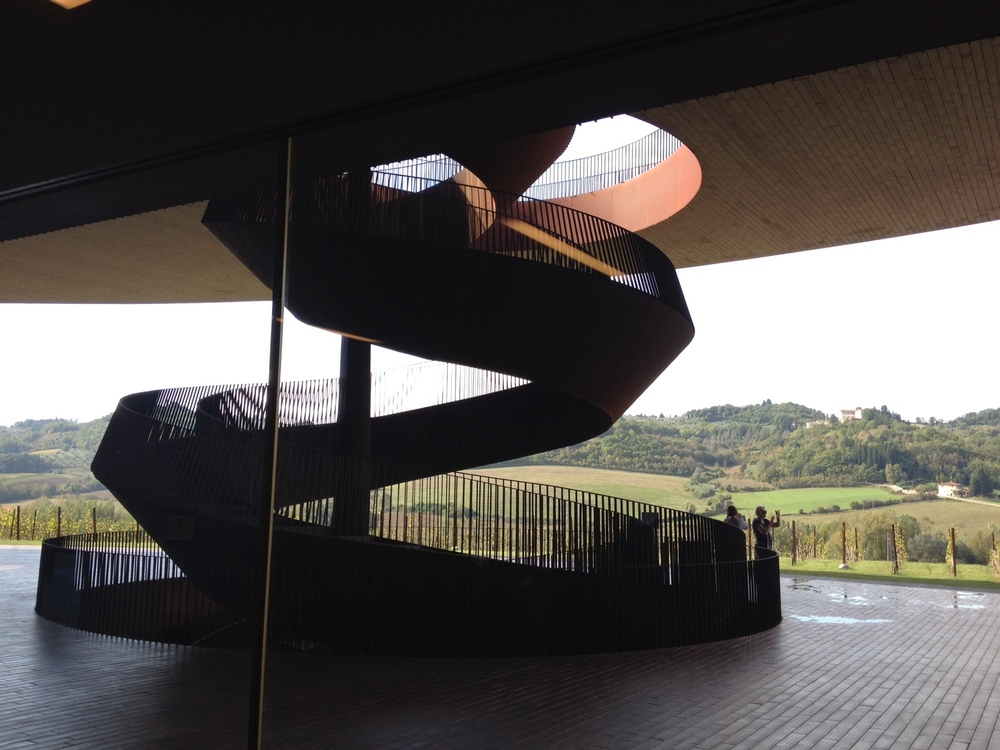 Staircase as sculpture, as seen from ground level leading up to plaza.