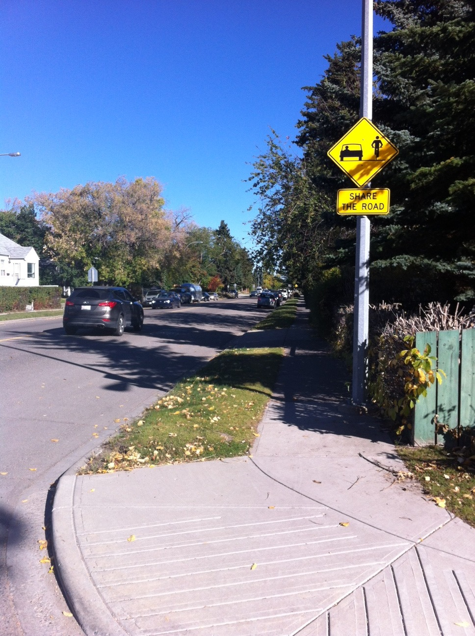 Calgary roads for the most part have lots of room for pedestrians, cyclist and drivers if we respect each other and share the road. Share The Road signs are a good reminder that EVERYONE is responsible for sharing the road.