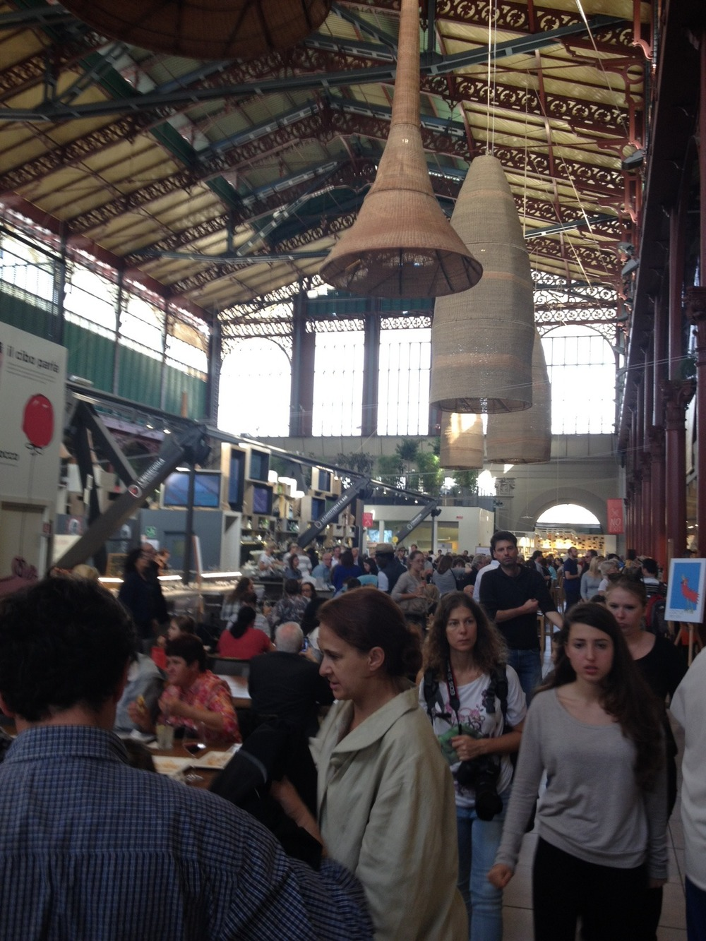 The indoor market is more like a food court in a mall or office building than a farmers' market.