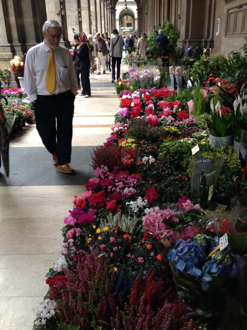 Florence's flower market adds a burst of colour and plant life that is absent from most of the City Centre.