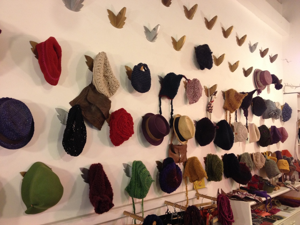 Jesei che Volano is dominated by wall of hats on fish head hooks.