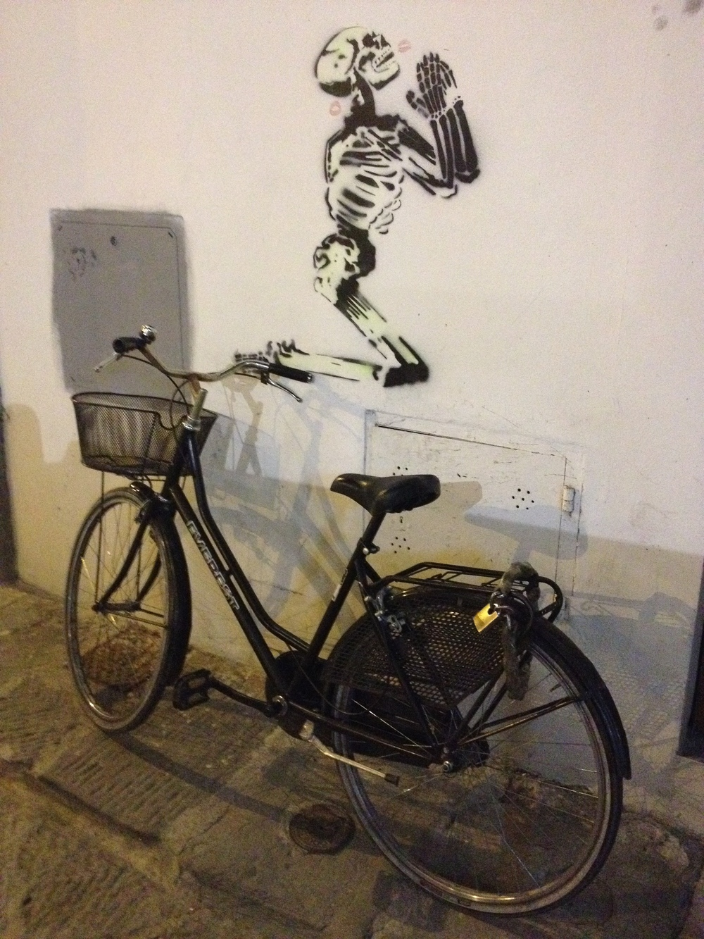 Found the juxtaposition of the bike and the skeleton figure quite provocative.