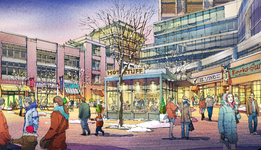 This is an artist's sketch of the central retail area proposed for Currie Barracks. Surrounded by offices and condos, this public space is designed to allow for a diversity of uses by people day and night, weekdays and weekends. Also note that designers are also taking into account Calgary is a winter city. (rendering provided by Canada Land Corporation)