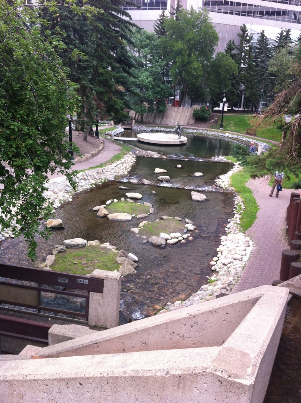 Century Gardens today looking from the top of the fountain on the northeast corner of 8th Street and 8th Avenue SW.