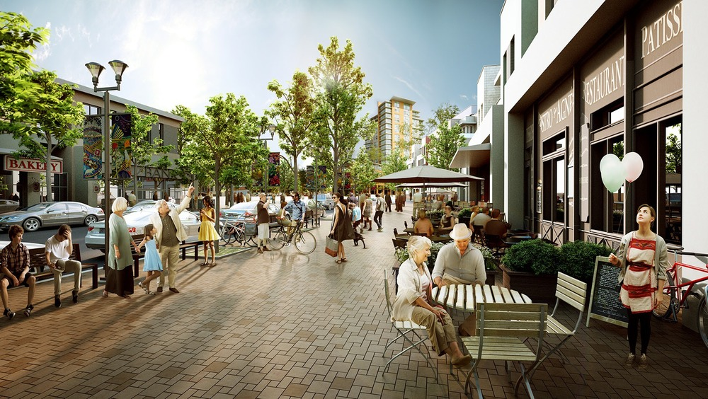 West Campus' main street with condos above and in the background. (rendering by RK visuals, photo credit: West Campus Development Trust.)