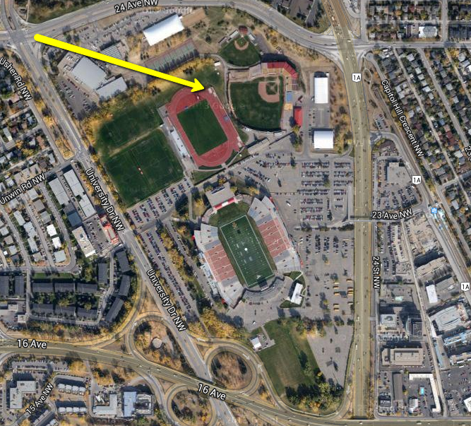 All of the playing fields surrounding McMahon Stadium have been discussed as a potential redevelopment site for several years now. Could this site accommodate a new stadium and arena? (image credit: Ross Aitken)