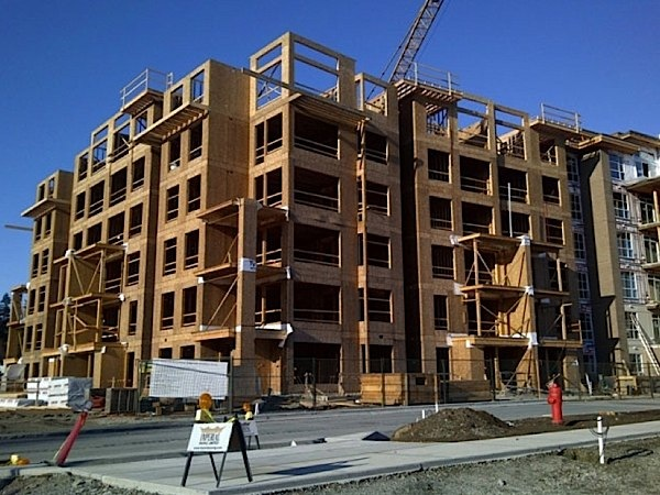 Six storey wood framed condos are becoming more and more common in North America; this allows more density and more affordability as wood construction is half the price of concrete.  In the past, the building code dictated a four-storey maximum for wood framed buildings.