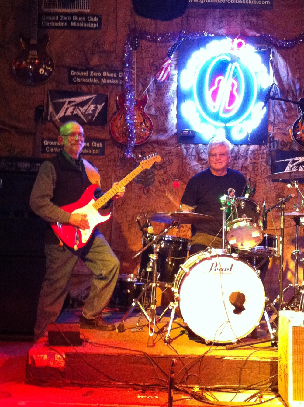 Barry (another Mikey's groupie) and I on stage at Ground Zero Blues Club.