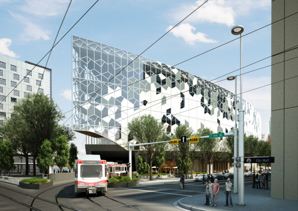 RK Visualization of new Central Library and LRT in East Village (photo credit: Calgary Municipal Land Corporation)