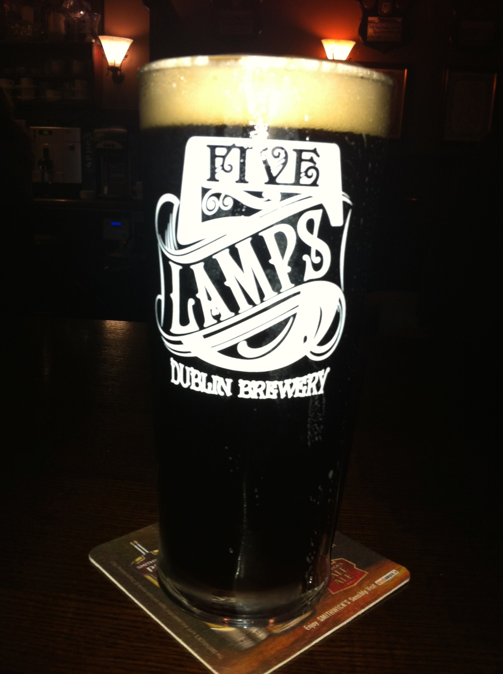 Definitely needed a beer after being rained out.  Five Lamps Blackpitts Porter was as smooth as a Guinness, but with more bite and flavour.
