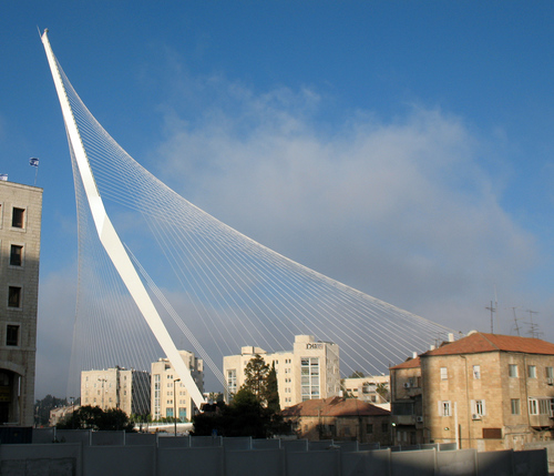 Calatrava's Chords Bridge for pedestrians and trains in Jerusalem.