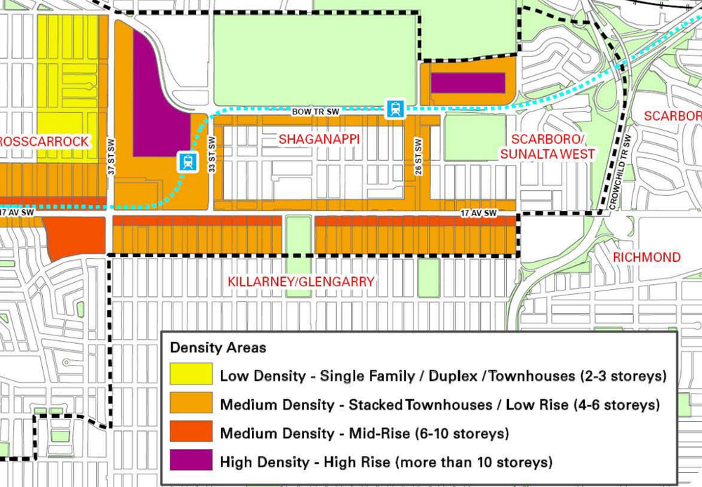 Shaganappi Area Redevelopment Plan outlining the density and type of development for every block.