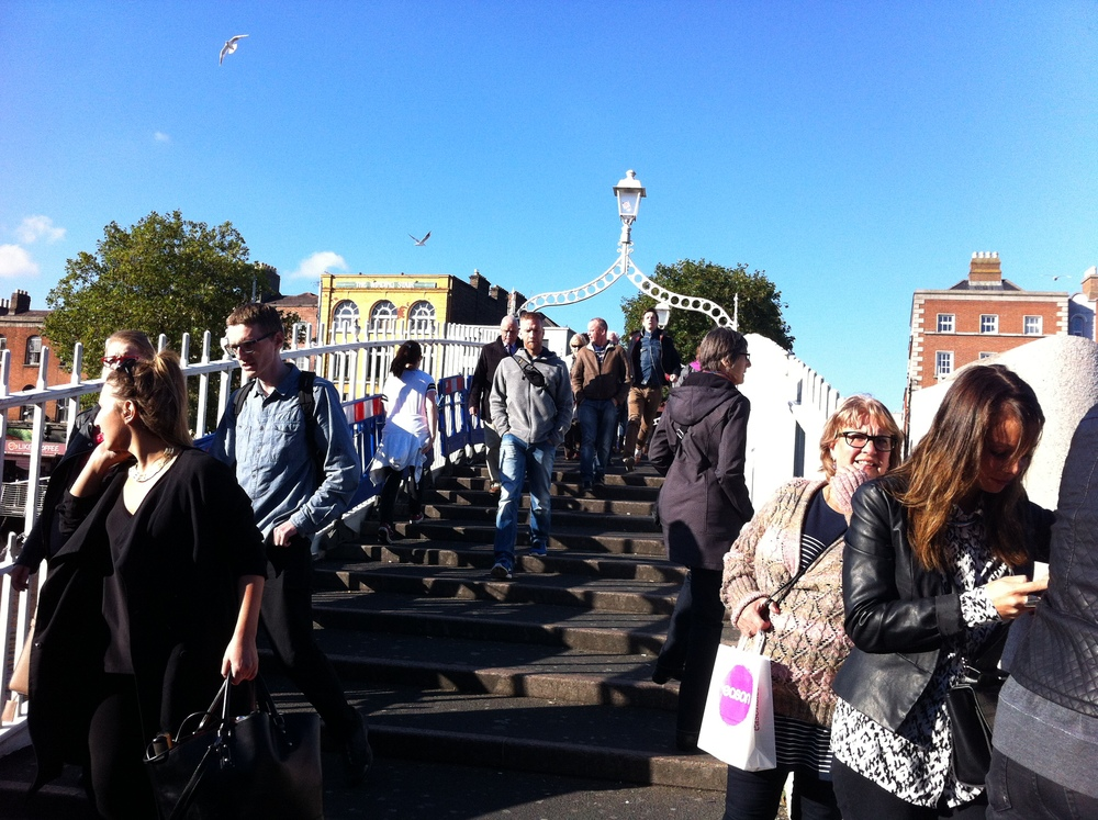 Ha'penny Bridge was probably the busiest pedestrian bridge I have ever seen. It functioned well to connect to pedestrian areas on either side of the river. It was experiential.
