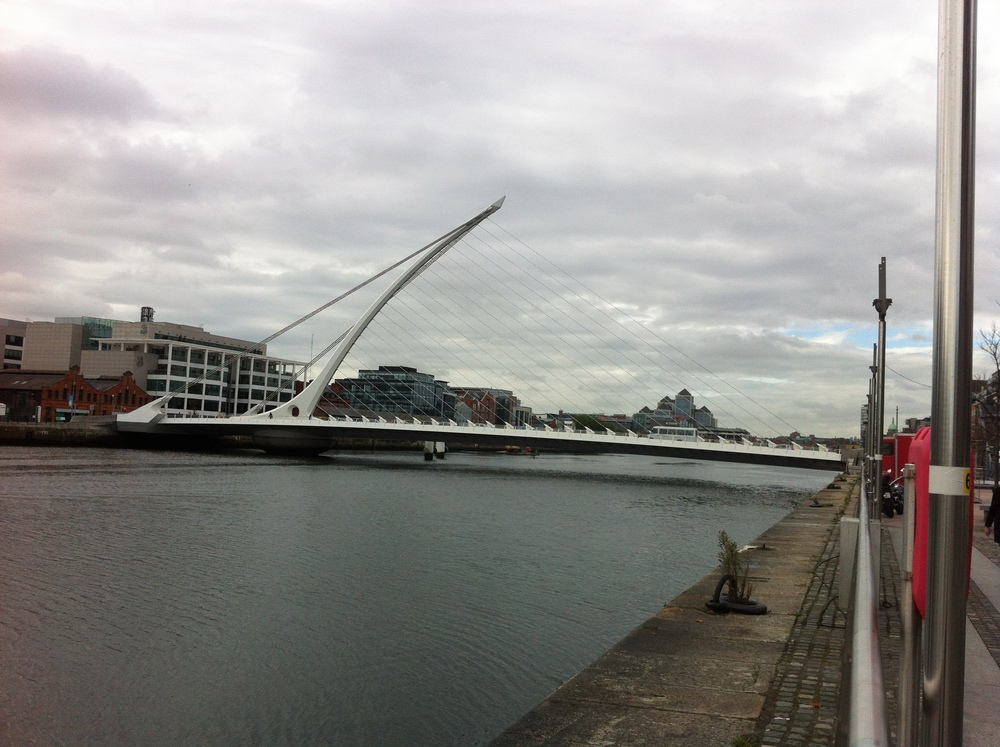 Calatrava has designed two bridges in Dublin. This is the Samuel Beckett Bridge, the other is the Jams Joyce Bridge further upstream. The bridge cost 60 million Euros or about $86 million Canadian.
