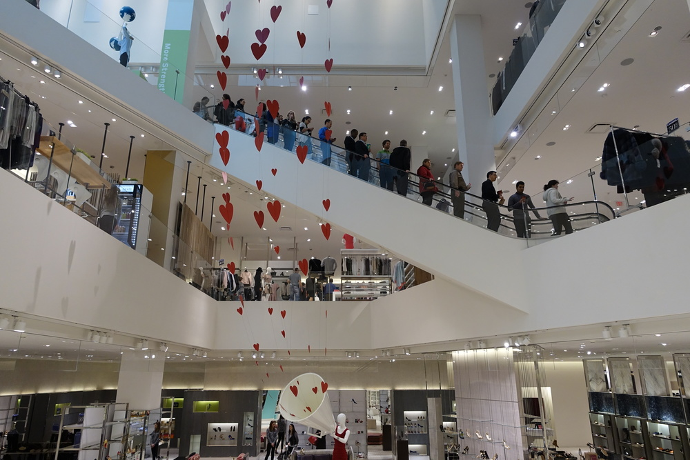 The +15 system connects to The Core shopping centre at the second, third and fourth floors.