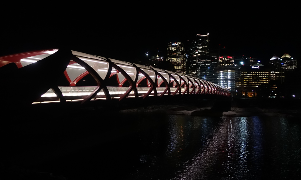 The Peace Bridge looks more dramatic at night all light up than it does during the day - just my humble opinion.