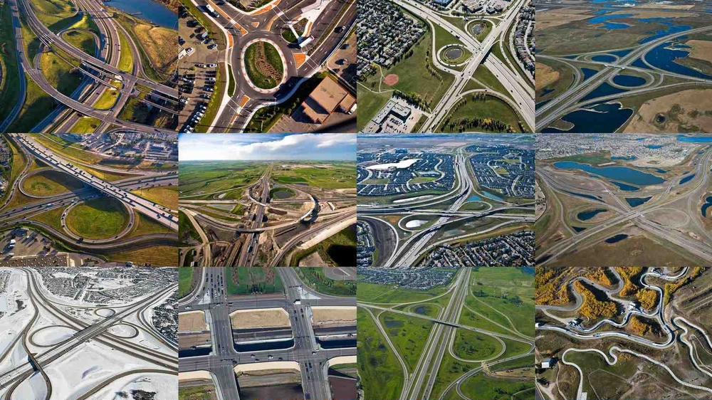 This is a collage of some of Calgary's road knots created by Peak Aerials.  Note: one of them is not a road. Can you tell which one?