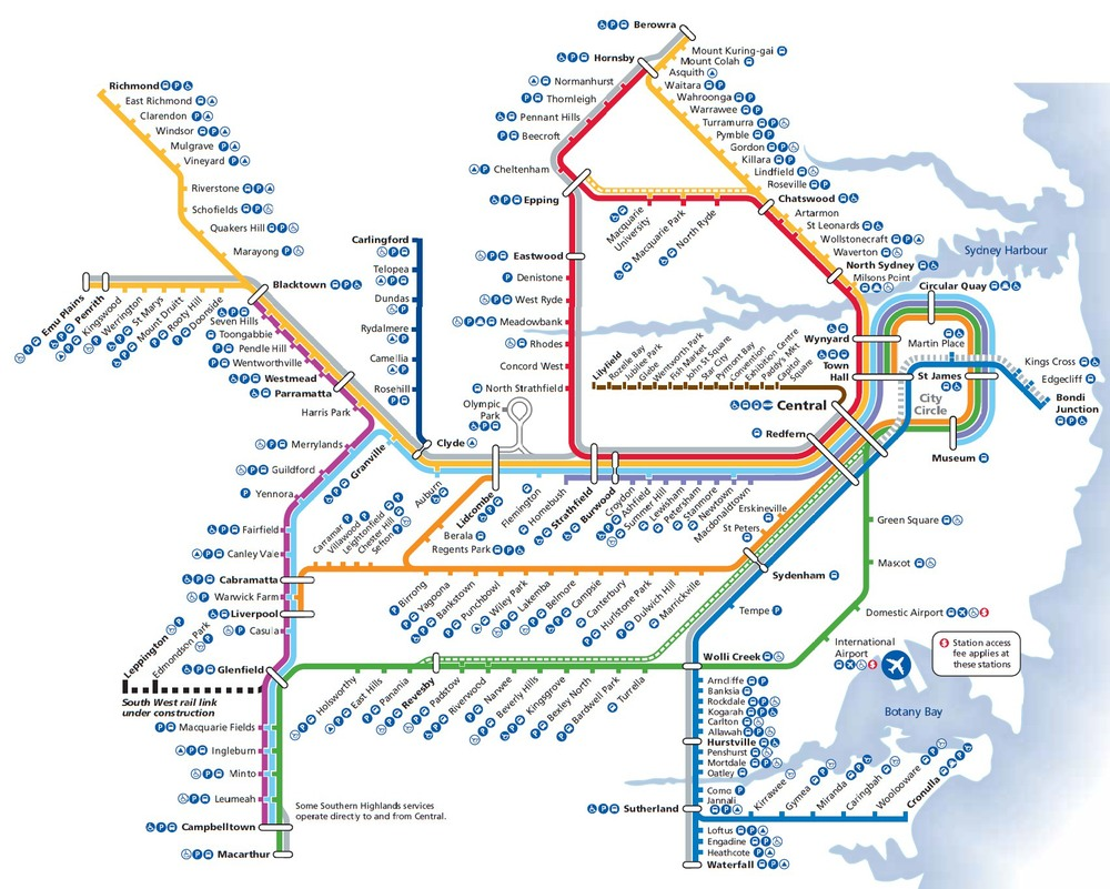 Map of Sydney's public transit system.