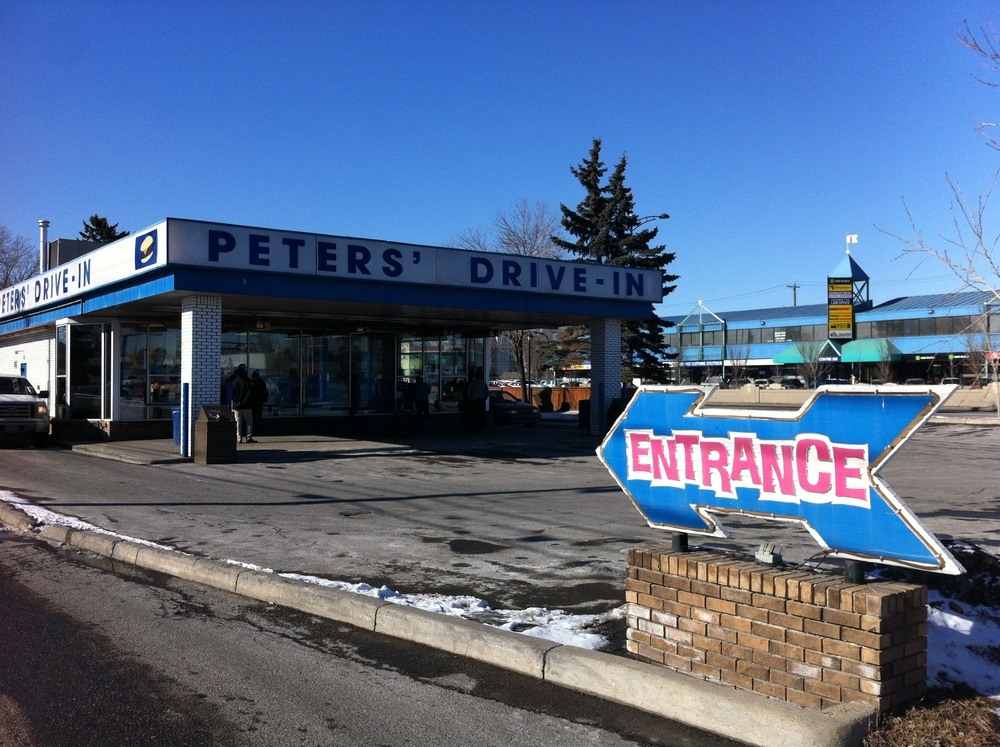 Peters' Drive-In is a Calgary mid-centuryicon and is a good example of 16th Avenue NW's car centric DNA.