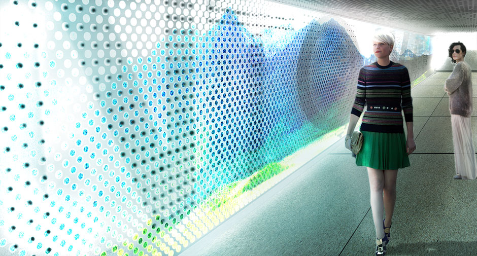 Rendering of the new wall of light that will adorn the underpass as part of the 21st century transformation.