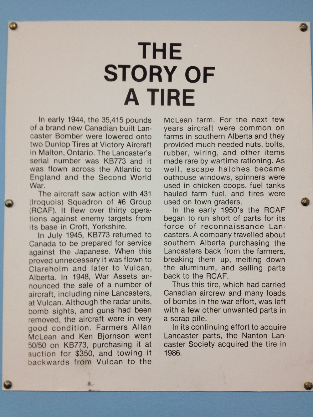 Story of a tire