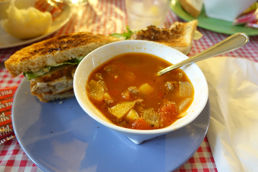 Soup and sandwich at Main Street Cafe