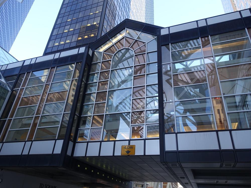 Bankers Hall double decker +15 bridge over Stephen Avenue at the 300 block.