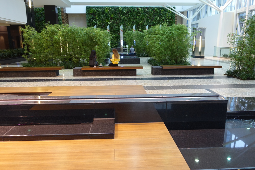 Jamieson Place Winter Garden with infinity pools and living wall.