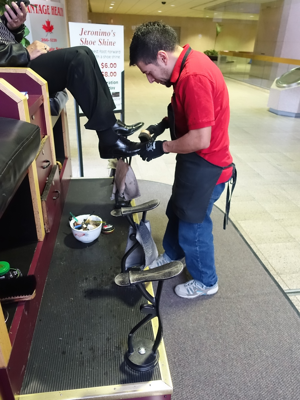 One of eight shoe shine stations in the +15 walkway.