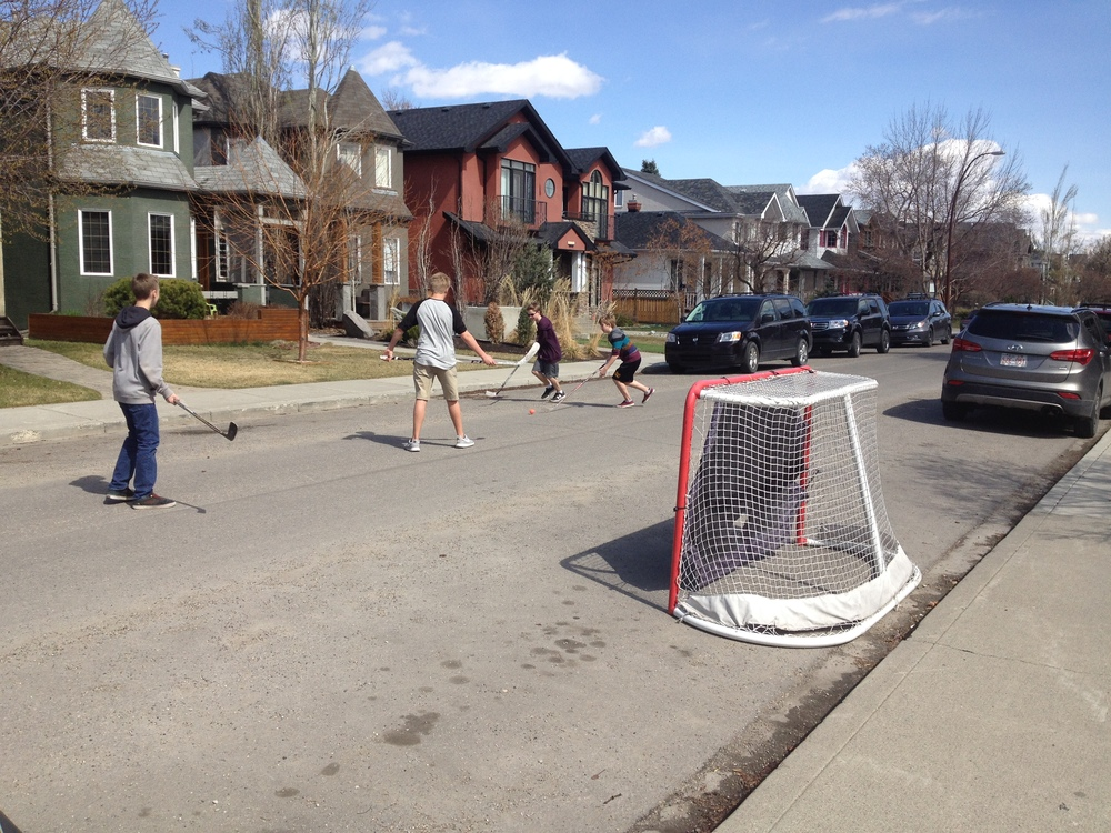 Here is the other street hockey game I encountered on my walk home from yoga recently.