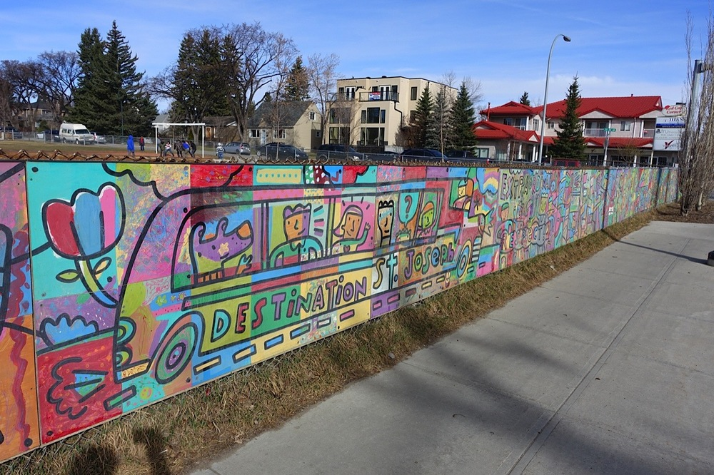 Dean Stanton's Mural on 4th St NW on the fence of St. Joseph School.
