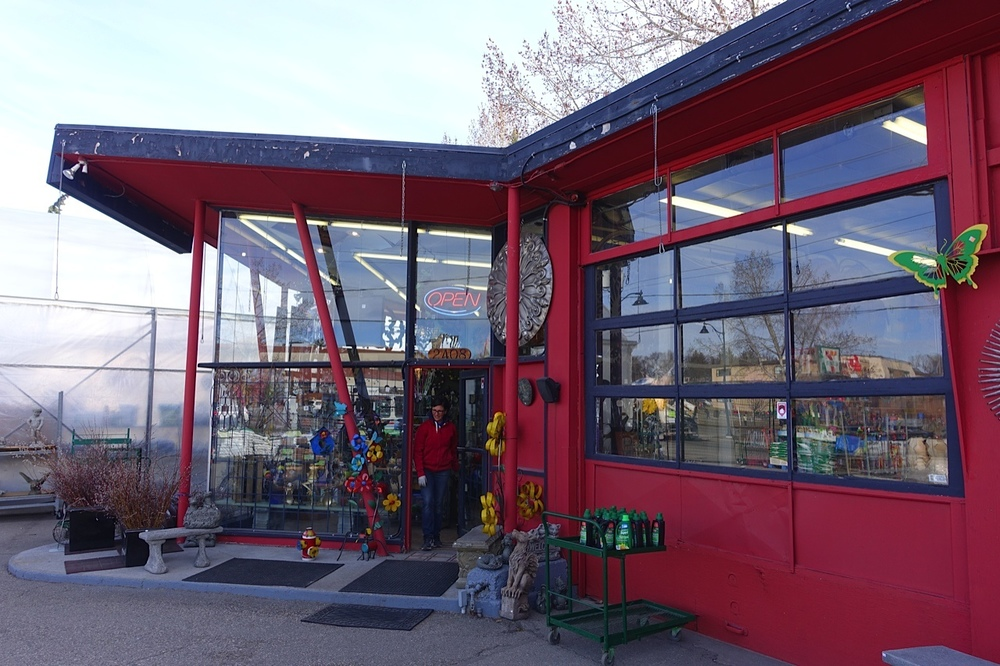 Plantation Garden Centre is located in a converted gas station. Inside are lots of fun garden ornaments including the green globes.