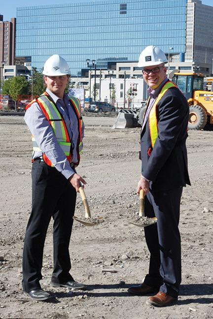Ryan Bosa on the left  and Michael Brown (CEO, Calgary Municipal Land Corporation) on the right at the ground breaking ceremony for their East Village project. (photo credit: Condo Living magazine).