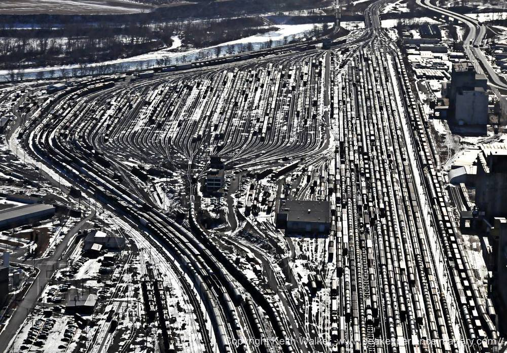 Calgary rail yard. (photo credit: Peak Aerials)