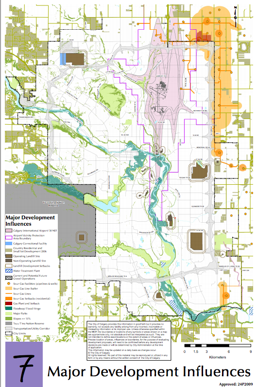 This image illustrates the influence on development having a major airport within the city boundaries has on development. (source: City of Calgary website)
