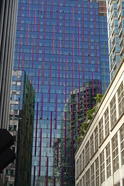 Amazon has purchased three blocks in downtown Seattle to create an urban campus. The purple tower in this photo is the first of several modern colourful office towers that will reshape the link between downtown and Belltown and Denny Triangle.