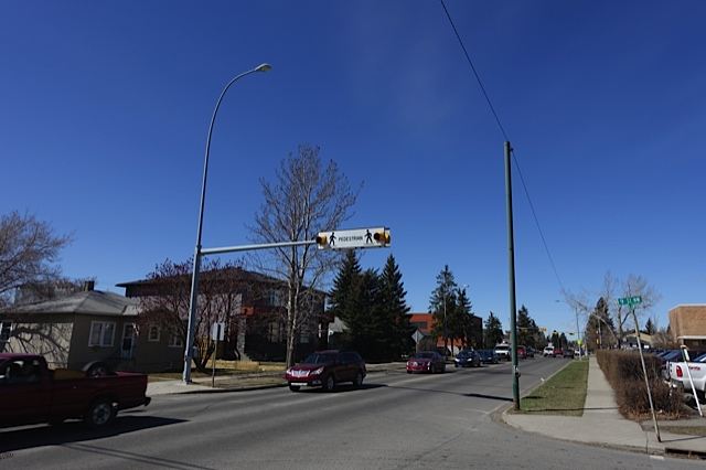 One of Calgary's 1,270 signalized pedestrian cross walks.