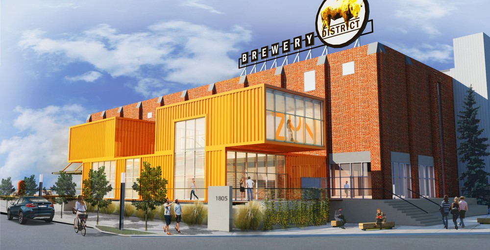 This is a conceptual rendering of what the Bottling Plant and new streetscape will look like if Phase 1 is approved.