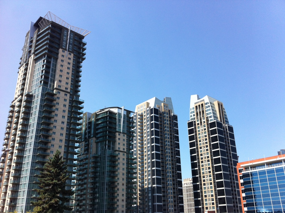 High-rise condos in Calgary's Beltline community just south of the central business district.