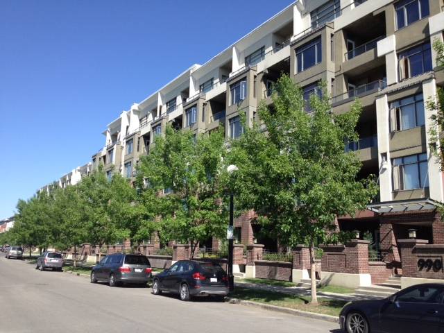 Block of new condos in Calgary's popular Bridgeland neighbourhood.