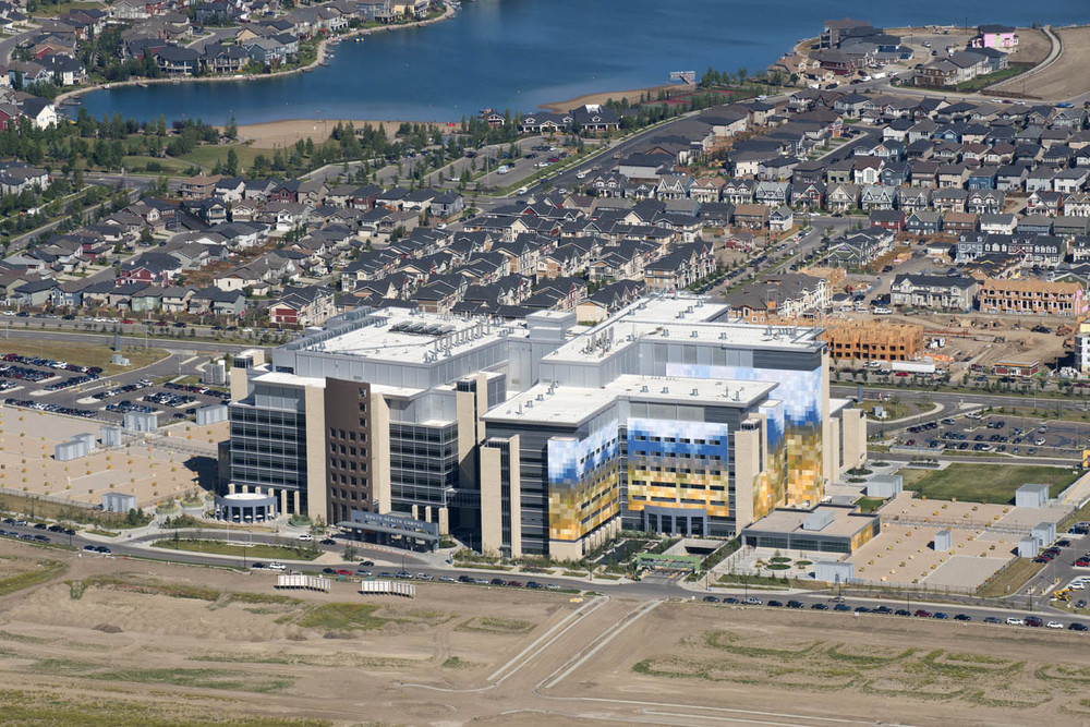 South Health Campus anchors the new SETON community which will create a new city with in the city complete with its own downtown. (photo credit: Peak Aerials)