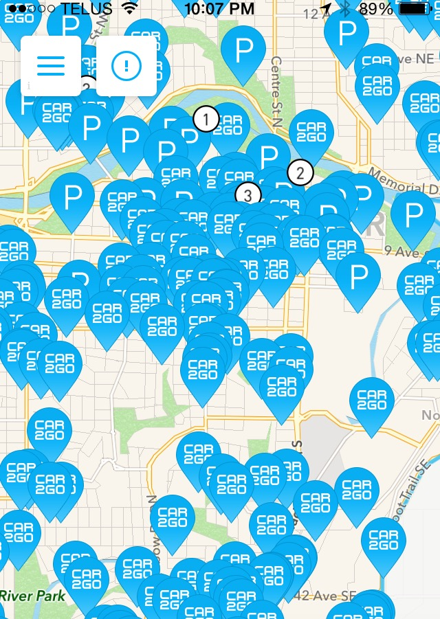 This image is from the car2go app that shows you where cars are in proximity to where you are located.  If you zoom in, you can get the exact street address for you waiting car. I chose this image as it best illustrated the concentration of vehicles in the greater downtown area.