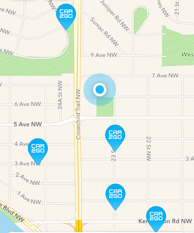 Anyone wanting to find a car2go just has to type in an address on the app and up comes a map with the location of cars nearby.