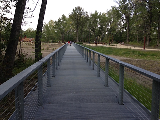 This long metal walkway over a wetland area, seemed out of context on the Island.